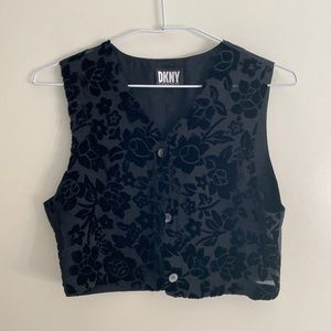 DKNY VTG 90s Floral Velvet Burnout Vest